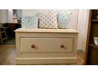 Solid chunky wood storage chest with drawer - shabby chic