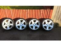 """Peugeot 206 alloys 17"""" with nearly new tyres"""