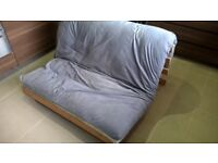 """Futon - Grey and Light Wood - Standard Double 4'0"""" x 6'3"""""""