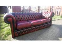 Chesterfield 3 seater in Ox blood red