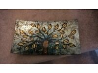 Glass decorative plate/dish 30 x 17cm greens/gold/black can be used on table or display stand