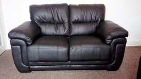 black leather 2 seater sofa and arm chair