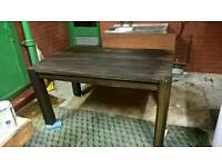Solid oak dining room table shabby chic, industrial, farm house, designer, aged, rustic.