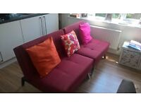 Duo 2 Seater fabric Clic Clac Sofa bed Red, only three months old
