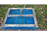 Blue wooden pallet