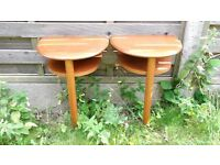 2 half moon shape small tables in hardwood very sought after good condition