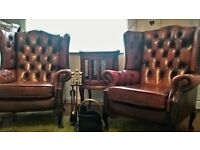 Vintage Queen Anne Chesterfield Oxblood Leather Chairs + Antique Drinks Cabinet + Fireset. £795