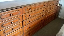 Bedroom storage - chests of various sizes ,matching and in good condition. Buyer collects.