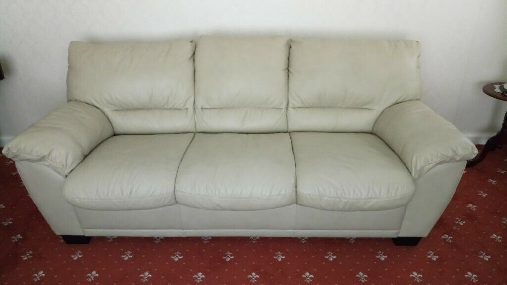 2b7bffd305d8 Cream leather three seater sofa with fold out sofa bed for sale. Used.  Immaculate condition.