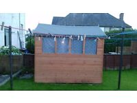 8x6 Apex shed with double doors and glass windows