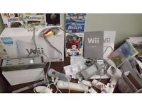 Nintendo Wii sports console white 7+ bundle .. with 6 games set up but never used