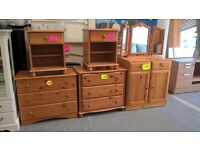 pine chests of drawers and small wardrobe