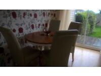 Round Wooden Table and Four High Back Chairs in Cream