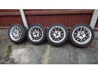 Wide alloy wheels and tyres