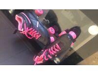Pink and black skates