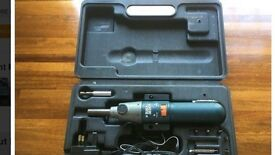Black & Decker Cordless Electric Screwdriver including various sizes/types of screwdriver bits