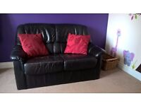 2 seater sofa and armchair - genuine leather - black