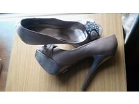 Size 7 Faith satin high heeled pale gold/taupe wedding or special occasion shoes with sparkly buckle