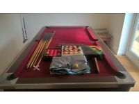 6ft Slate bed pool table and accessories
