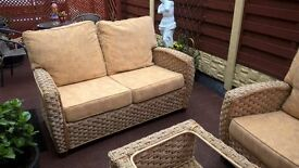 """3 Piece Summer house furniture suite - glass top table -sofa-chair in genuine """"Rattan"""""""