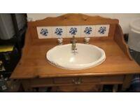 Vintage Vanity Unit - solid pine and porcelain vanity unit for sale