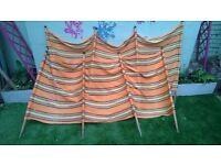 Vintage orange stripe windbreak set of 2 x 4 post windbreaks ideal for vintage vw campervan