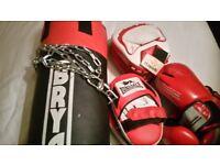 Boxing bag, pads, gloves