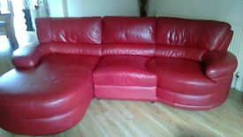 real leather hand made red corner sofa