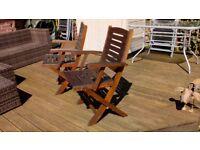 Pair of hardwood garden chairs