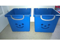 2 Blue Smiley Face Kids Toy Storage Boxes On Wheels
