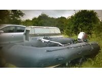 NAVY SEALS assault rib.plus trailer and 40hp mariner outboard engine.