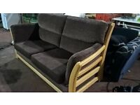 BROWN FABRIC 3 PIECE SUITE SOFA AND 2 CHAIRS