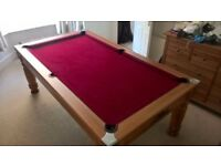 Pool table and dining table, 4 chair, pool cues, pool table lights, pool balls and chalk