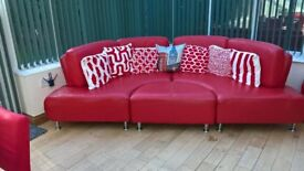 Red curved sofa for sale