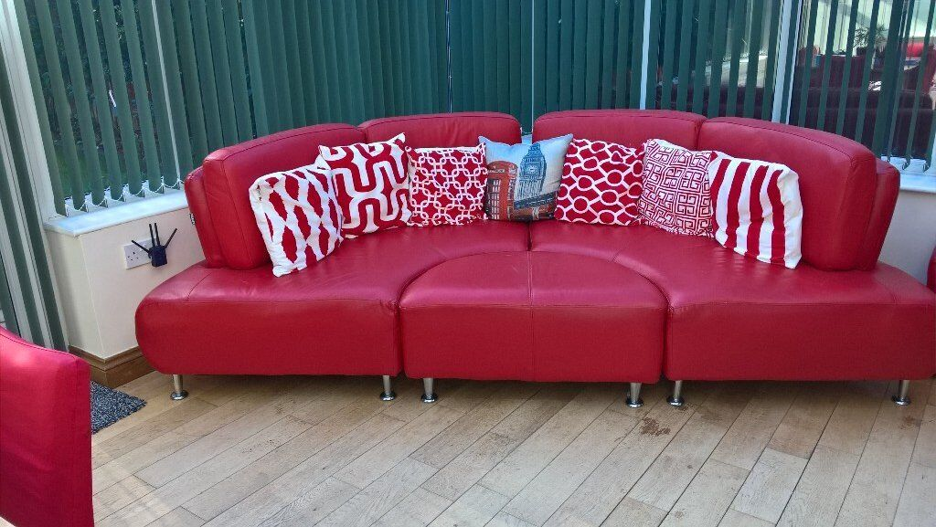 Red curved sofa for sale | in Ipswich, Suffolk | Gumtree