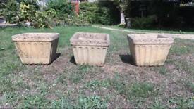 Three Concrete patterned pot