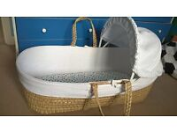 moses basket, stand, sheets and blanket