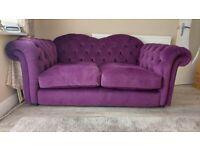 Nearly new Joules Windsor 2 seater sofa in purple velvet