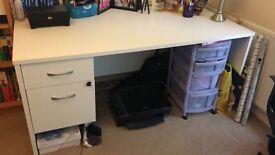 Desk - Large, white, office desk for sale