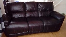 Real leather brown 3 seater recliner like new