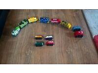 6 interactive chuggington trains that speak to each other with 4 small chuggington trains.