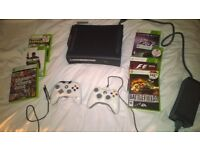 Xbox 360 black with 120GB hard drive, controllers, HDMI lead and games