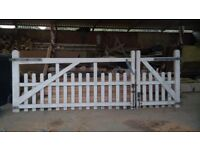 Gates Wooden Ranch style White with side gate to match