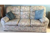 3 piece suite inc. 3 seater sofa & two armchairs, one which reclines; will sell items individually