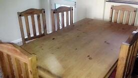 Kitchen pine table with 6 chairs