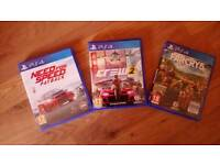 Ps4 games. Farcry 5. The crew 2. Need for speed payback