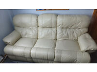 Cream Leather Settee