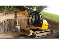 8 ton digger and driver for hire
