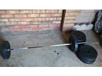 WEIGHT LIFTING BAR and Vinyl Weight Plates Discs