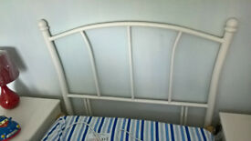 Metal white gloss painted bed head for a single bed